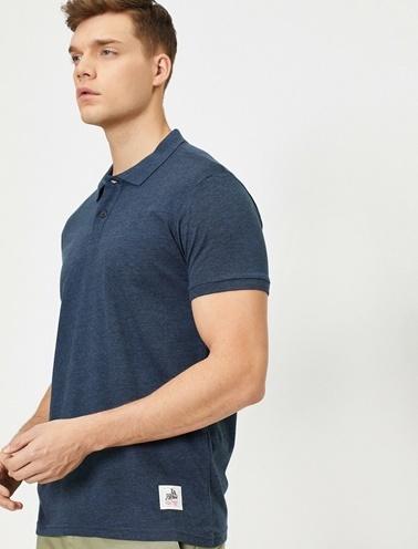 Koton Süs Etiket Detaylı Slim Fit Polo Yaka T-Shirt Mavi